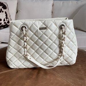 Kate Spade cream quilted pebbled leather handbag